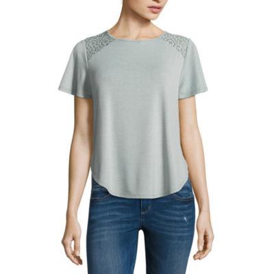 Rewind Short Sleeve Crew Neck T-Shirt-Womens Juniors