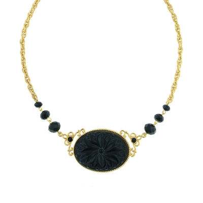 1928 Vintage Inspirations Womens Black Brass Flower Collar Necklace