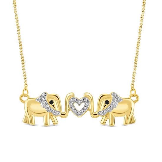 Womens Diamond Accent Black Diamond 14K Gold Over Brass Round Pendant Necklace
