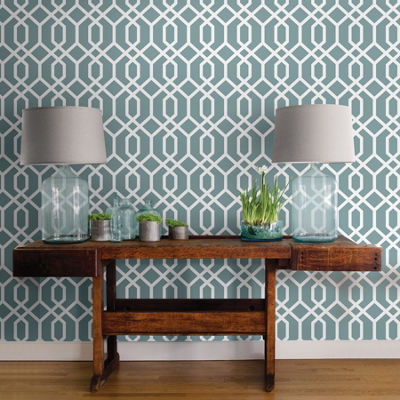 Brewster Wall Montauk Lattice Hemlock Blue Peel And St Wall Decal
