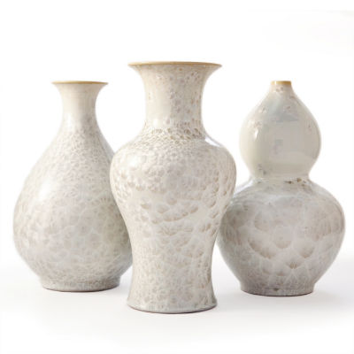 Two's Company Set Of 3 Vases With Mother Of Pearl Effect