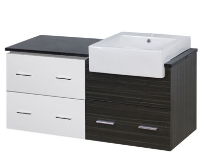 46-in. W 18-in. D Modern Wall Mount Plywood-Melamine Vanity Base Set Only In White-Dawn Grey