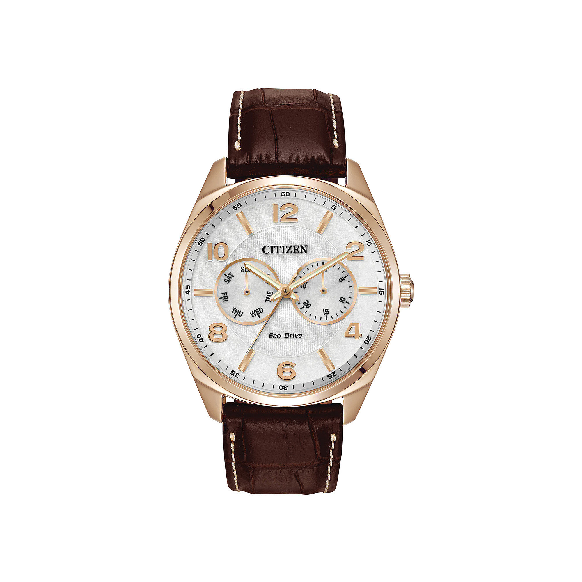 Citizen Eco-Drive Mens Brown Leather Strap Watch AO9023-01A