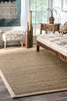 nuLoom Elijah Seagrass with Border Rug