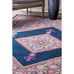 nuLoom Vintage Bordered Medallion Adame Rectangular Rug