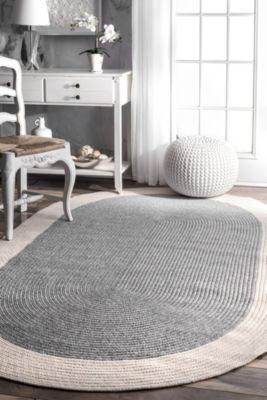 nuLoom Braided Solid Border Delaine Oval Rug