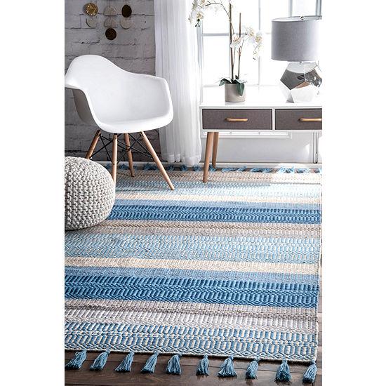 nuLoom Flatweave Tassel Indoor/Outdoor Lucile Rectangular Rug