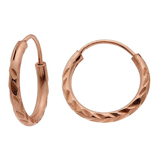 Itsy Bitsy 14K Rose Gold Over Silver 11.6mm Round Hoop Earrings