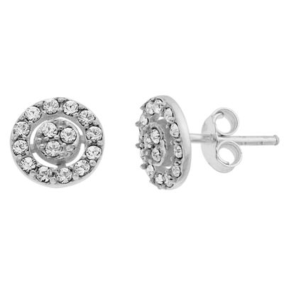 Itsy Bitsy Itsy Bitsy Clear Sterling Silver 7.8mm Round Stud Earrings