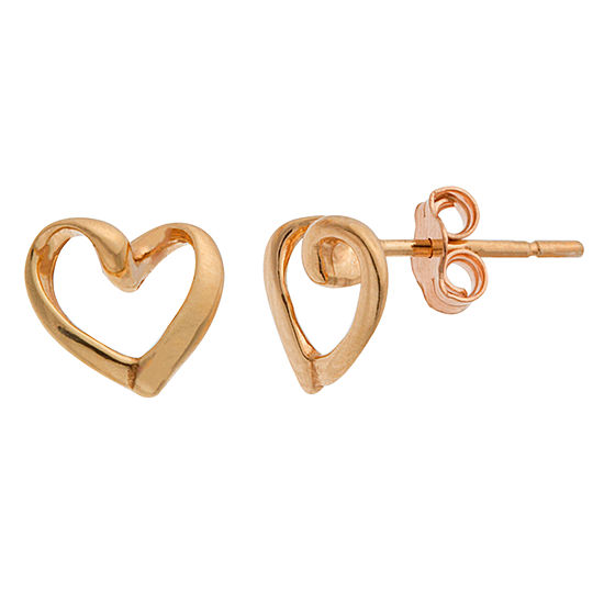 Itsy Bitsy 14K Rose Gold Over Silver 8.4mm Heart Stud Earrings
