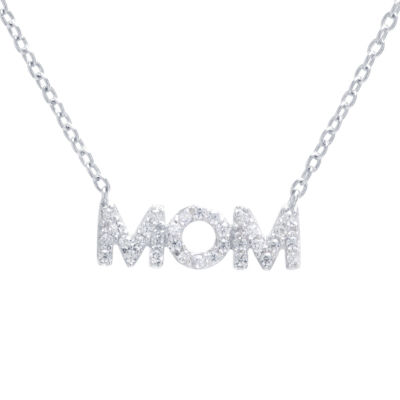 """Silver Treasures """"Mom"""" Womens Clear Sterling Silver Pendant Necklace"""