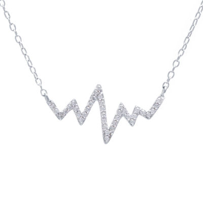 "Silver Treasures ""Heartbeat"" Womens Clear Sterling Silver Pendant Necklace"