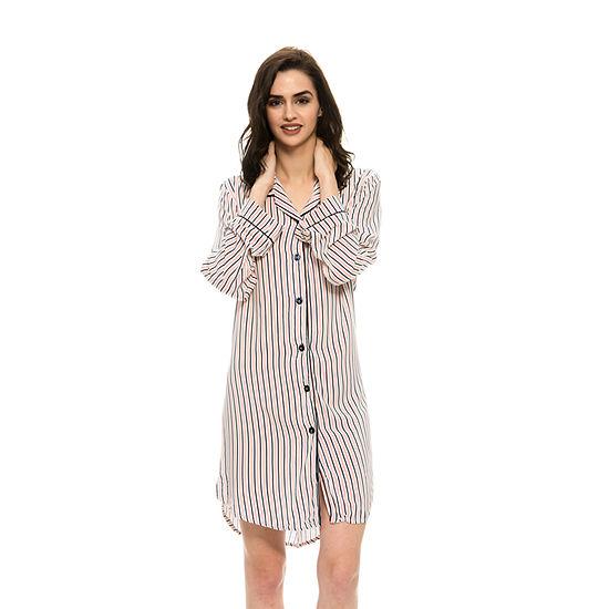 Harve Benard Rayon Boyfriend Buttoned Sleep Nightshirt