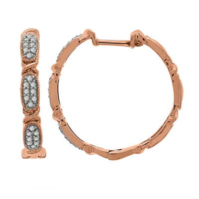1/4 CT. T.W. Genuine White Diamond 10K GOLD 24.5mm Hoop Earrings