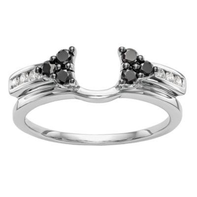Womens 1/3 CT. T.W. Genuine Multi Color Diamond 14K White Gold Ring Enhancer