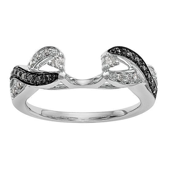 Womens 1/5 CT. T.W. Genuine Multi Color Diamond 14K White Gold Ring Enhancer