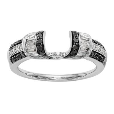 Womens 1/2 CT. T.W. Genuine Multi Color Diamond 14K White Gold Ring Enhancer