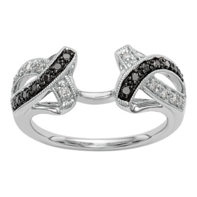 Womens 1/5 CT. T.W. Genuine Multi Color Diamond 14K White Gold Ring Enhancer