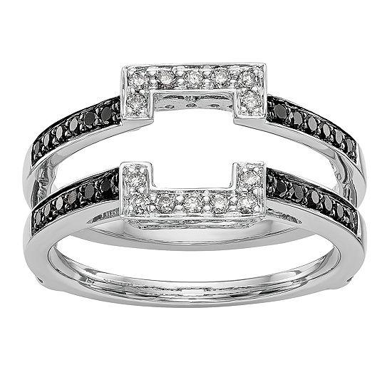 Womens 3/8 CT. T.W. Genuine Multi Color Diamond 14K White Gold Ring Guard