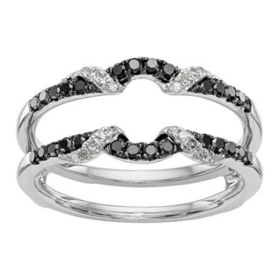 Womens 1/3 CT. T.W. Genuine Multi Color Diamond 14K White Gold Ring Guard