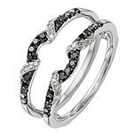 Womens 1/3 CT. T.W. Genuine Multi Color Diamond 14K White Gold Ring Guard