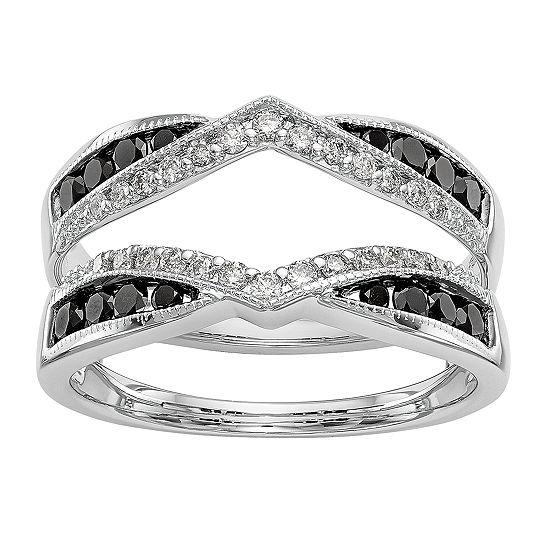 Womens 3/4 CT. T.W. Genuine Multi Color Diamond 14K White Gold Ring Guard