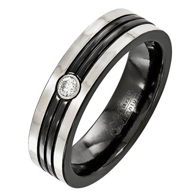 Edward Mirell Mens 6MM Diamond Accent Genuine White Diamond Sterling Silver Titanium Wedding Band