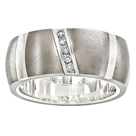 Edward Mirell 10MM Diamond Accent Genuine White Diamond Sterling Silver Titanium Wedding Band