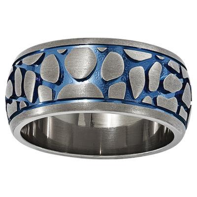 Edward Mirell Mens Titanium Blue Anodized Wedding Band