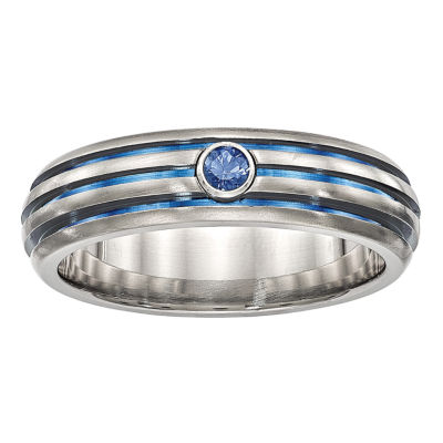 Edward Mirell Mens Genuine Blue Sapphire Titanium Triple grooved Blue Anodized Wedding Band