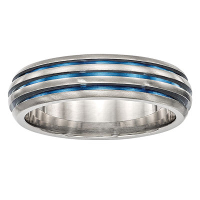 Edward Mirell Mens Titanium Triple grooved Blue Anodized Wedding Band