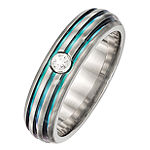 Edward Mirell Mens Genuine White Sapphire Titanium Triple Grooved Multi-Color Anodized Wedding Band