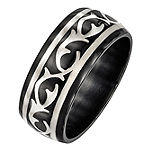 Edward Mirell Mens 10MM Sterling Silver Titanium Wedding Band