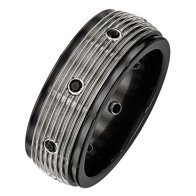 Edward Mirell Mens Black Spinel Titanium Wedding Band