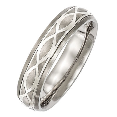 Edward Mirell Mens 6mm Sterling Silver Titanium Wedding Band