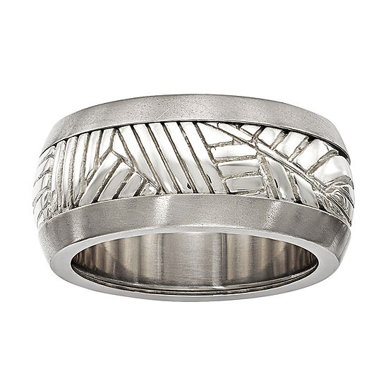 Edward Mirell Mens 11M Sterling Silver Titanium Wedding Band