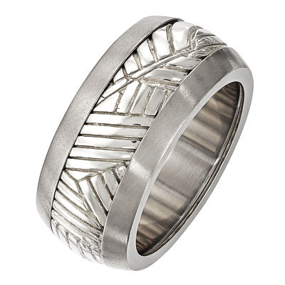 Edward Mirell Mens 11M Sterling Silver Titanium Wedding Band