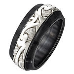 Edward Mirell Mens Titanium & Sterling Silver Wedding Band