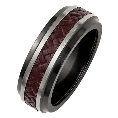 Edward Mirell Mens Titanium Red Carbon Fiber Insert Wedding Band