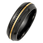 Edward Mirell Mens 7MM 14K Gold Titanium Wedding Band