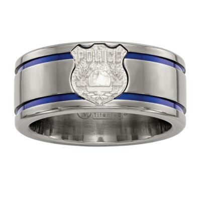 Edward Mirell Mens Titanium & Sterling Silver Police Shield Tag Wedding Band
