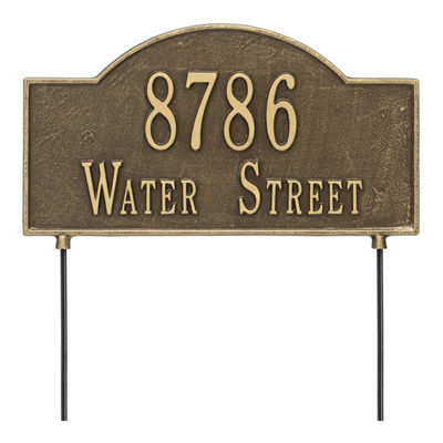Whitehall Personalized 2-Sided Arch Standard Lawn Address Plaque - 2 Line