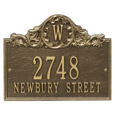 Whitehall Personalized Acanthus Monogram Wall Address Plaque - 3 Line