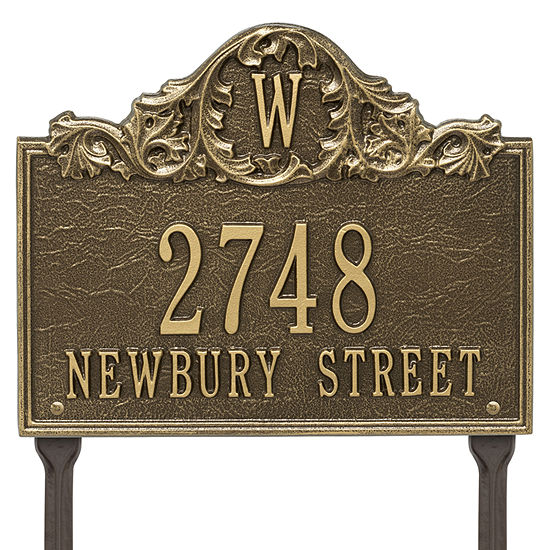 Whitehall Personalized Acanthus Monogram Lawn Address Plaque 3 Line