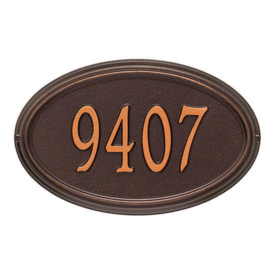 Whitehall Personalized Concord Oval Standard Wall Address Plaque - 1 Line