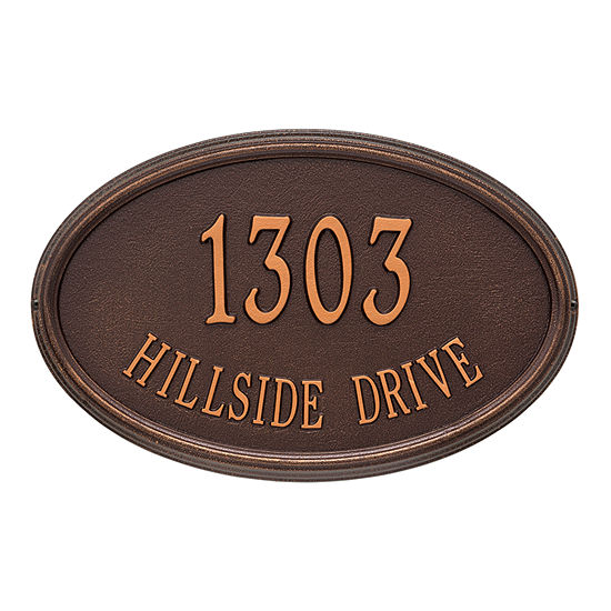 Whitehall Personalized Concord Oval Estate Wall Address Plaque - 2 Line