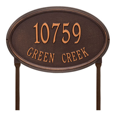 Whitehall Personalized Concord Oval Estate Lawn Address Plaque - 2 Line