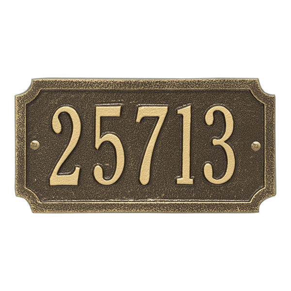 Whitehall Personalized Cut Corner Rectangular Standard Address Plaque - 1 Line