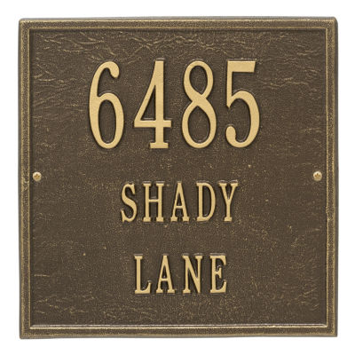 Whitehall Personalized Square Standard Wall Address Plaque - 3 Line