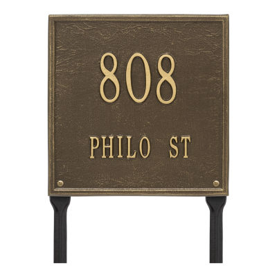Whitehall Personalized Square Standard Lawn Address Plaque - 2 Line